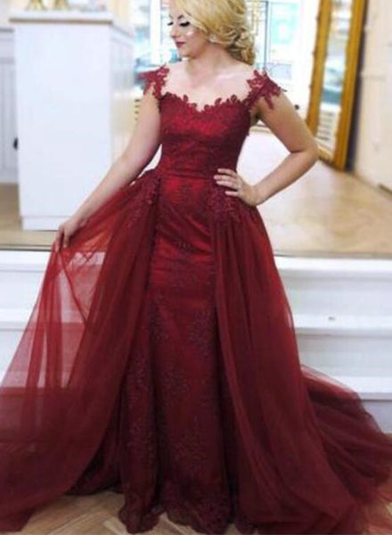 Tulle and Satin Burgundy Party Dress, Charming  Cap Sleeve Mermaid Evening Gown with Appliques, Formal Dress