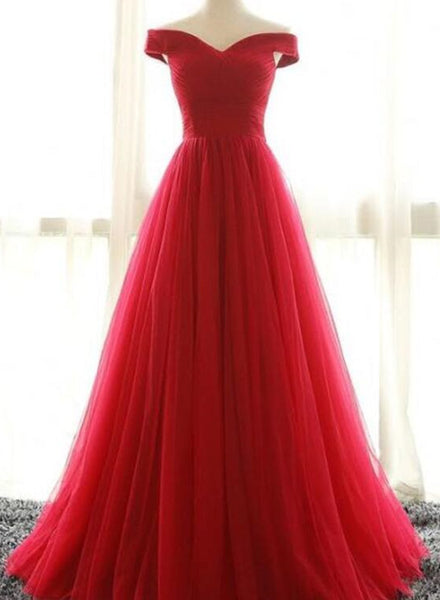 Red Prom Dresses 2018, Charming Off Shoulder Tulle A-line Party Dresses, Evening Gown