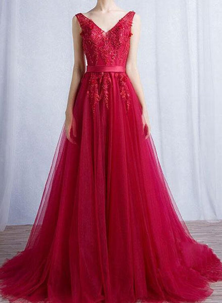 Charming Red V-neckline Tulle Dresses, Red Prom Dresses, Party Dresses 2018 with Applique