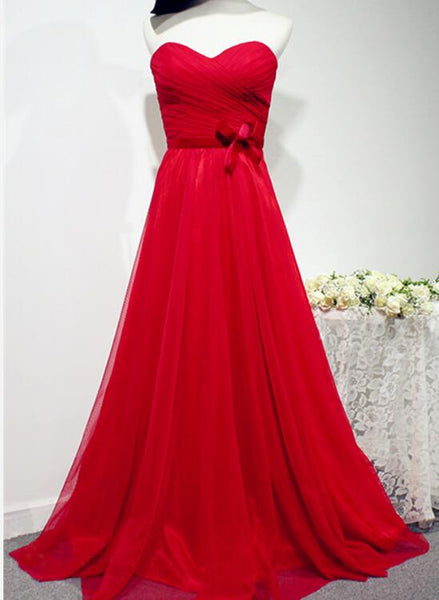 Pretty Red Chiffon Long Prom Dress 2018, Red Formal Gowns, Party Dresses