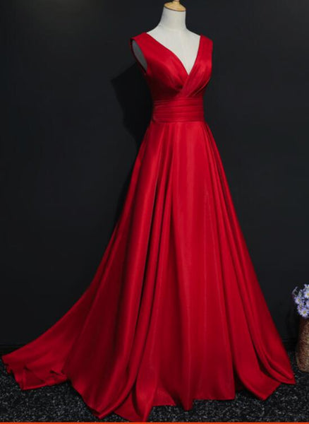 Red V-neckline Floor Length Satin Junior Prom Dresses, Red Party Dresses, Pretty Party Dresses