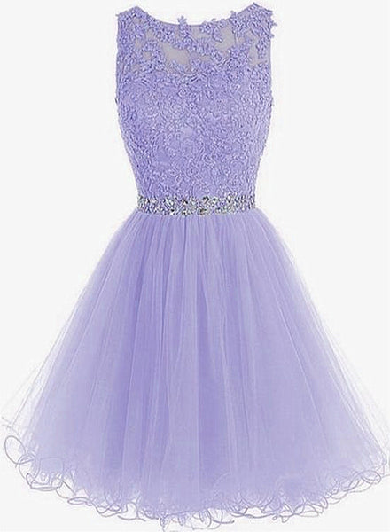 Cute Round Neck Lace Short Purple Prom Dresses, Purple Homecoming Dresses
