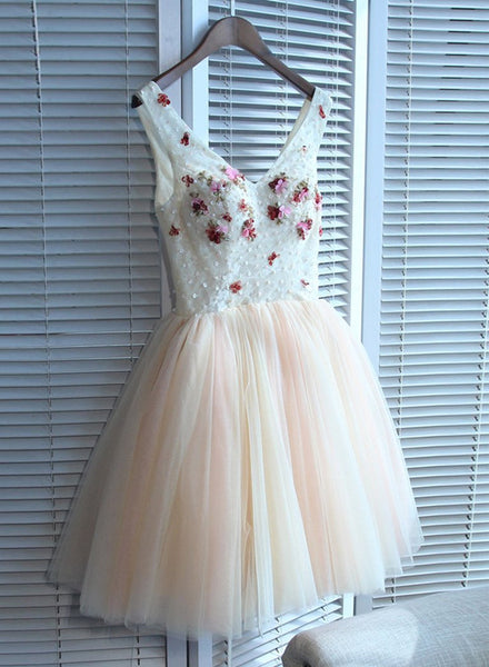 Lovely Tulle V-neckline Tulle Homecoming Dresses, Tulle Pink Cute Party Dress 2019