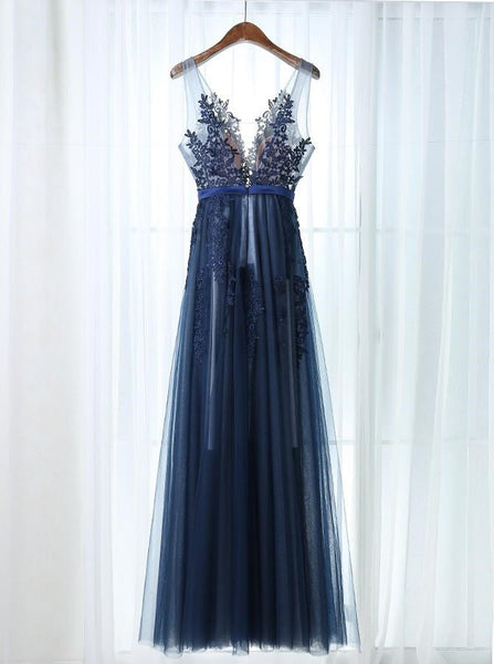 Sexy Navy Blue Tulle A-Line Scoop Floor-Length  Prom Dress with Appliques 2018, Blue Formal Gowns