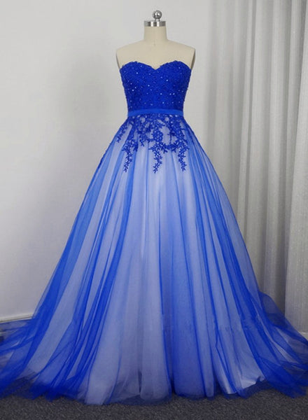 Beautiful Blue Tulle with Lace Applique Sweetheart Long Formal Dress, Charming Blue Gowns