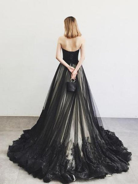 Elegant Black Tulle with Lace Applique Long Formal Gown 2019, Black Party Gowns 2019