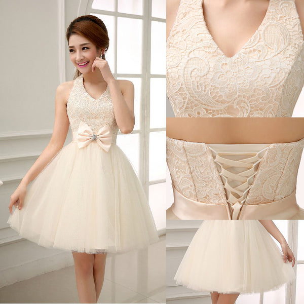 Champagne Halter V-neckline Knee Length Lace with Bow Party Dress, Champagne Homecoming Dresses