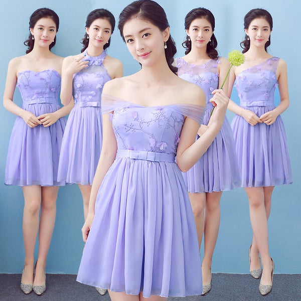 Lovely Lavender Chiffon and Tulle Simple Mini Party Dress in Stock, Cute Mini Formal Dress for Sale