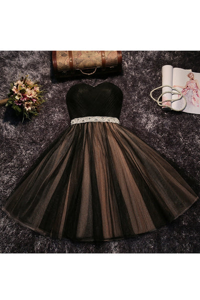 Black and Champagne Tulle Sweetheart Party Dress with Belt, Lovely Graduation Party Dress, Formal Dress