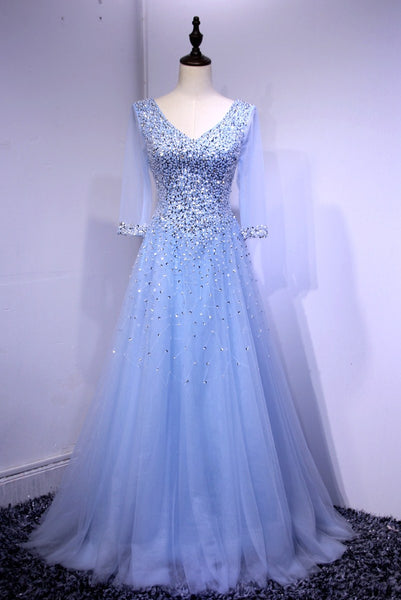 Blue Long Sleeves Beaded Tulle Formal Gown, Sparkle Junior Prom Dress 2019