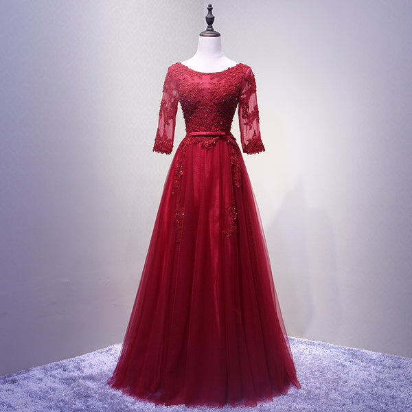 Wine Red Short Sleeves Tulle Long Formal Gown, Junior Prom Dress 2019, Party Dress