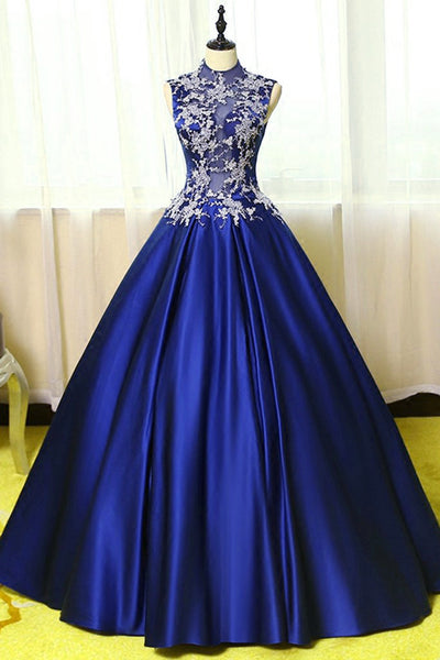 Royal Blue Satin Long Party Dress, Blue Formal Gowns, Prom Gowns 2018