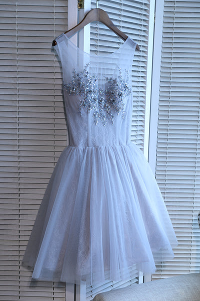 Light Grey Tulle Round Neckline Short Party Dresses, Grey Homecoming Dresses 2019