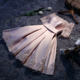 Lovely Satin Pink A Line Off Shoulder Homecoming Dresses, Cute Prom Dresses with Lace-up