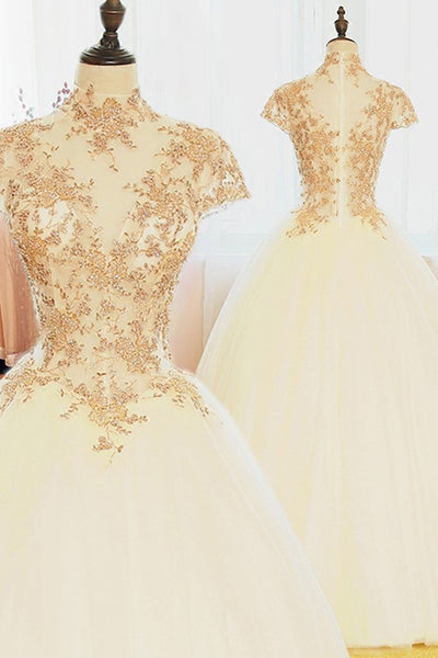 Beautiful White Tulle Cap Sleeves with Gold Applique Long Occasion Formal Dress, Beautiful Formal Dress