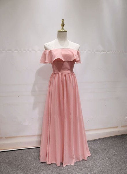 Pink Lovely Floor Length A-line Bridesmaid Dress, Handmade Pretty Formal Gown