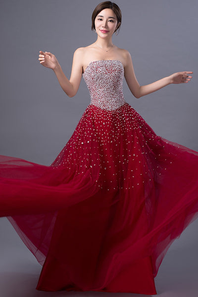 Wine Red Beaded Tulle Prom Dress 2019, Charming Formal Gowns 2019, Prom Dresses