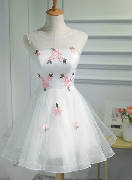 White Short Cute Graduation Party Dress 2018, Lovely Prom Dress 2018, Formal Dress Tulle with Flowers