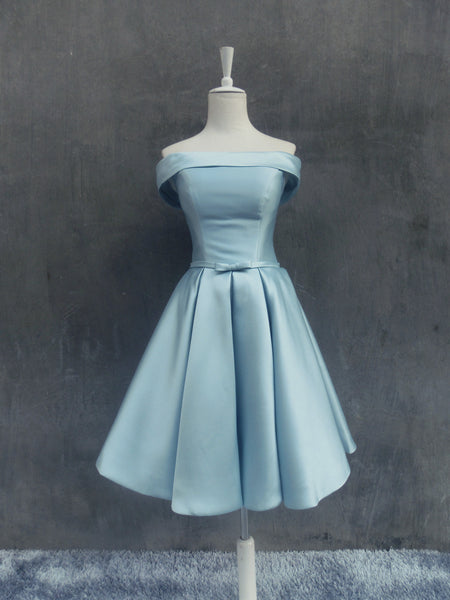 Light Blue Off Shoulder Homecoming Dress, Cute Party Dress, Blue Bridesmaid Dress