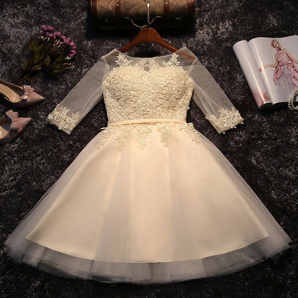 Light Champagne Round Neckline 1/2 Sleeves Tulle Party Dress, Lovely Teen Party Dresses