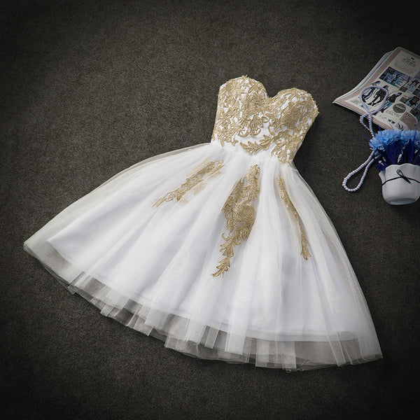 Cute White Tulle Party Dress with Gold Applique, Prom Dresses, Short Prom Dresses