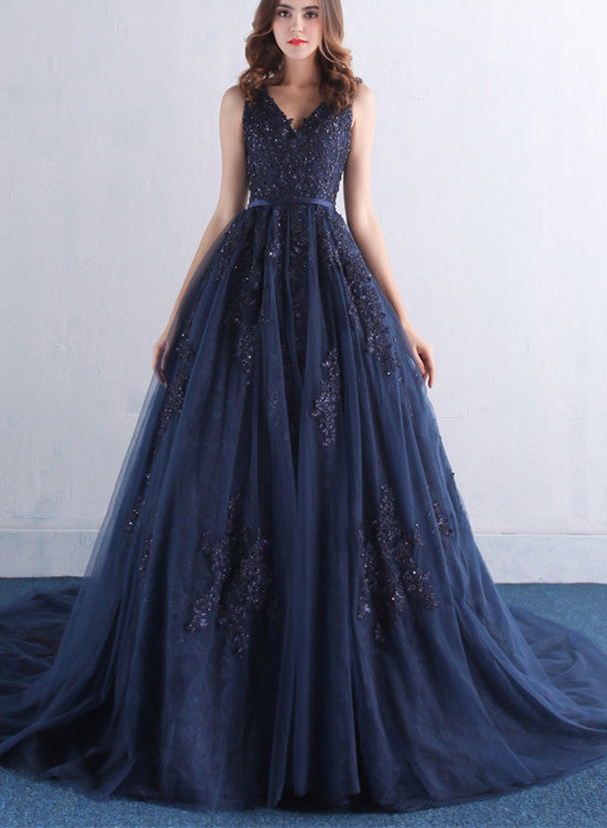 Navy Blue Long Tulle Formal Gowns V Neckline Prom Dress Elegant