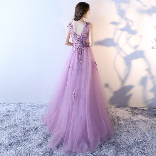 Beautiful Light Purple Tulle Long Gown, Tulle Formal Dress 2019