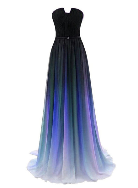 Charming Gradient Blue and Black Floor Length, Girls Senior Prom Gowns