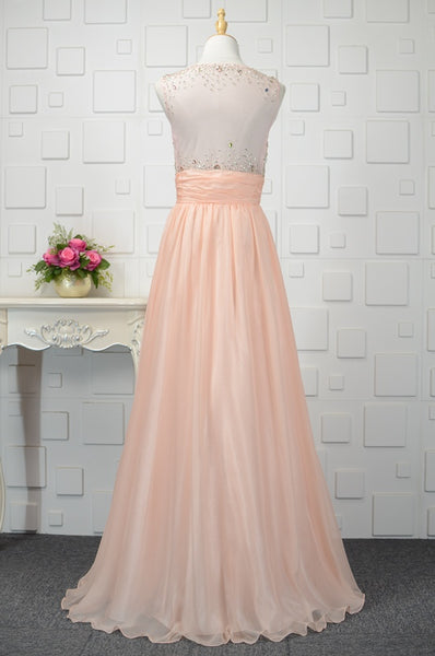 Beautiful Light Pink 30 D Chiffon Sequins Round Neckline Party Dress, Floor Length Party Dress, Prom Gowns