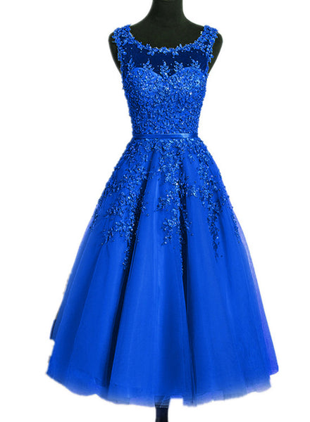 Royal Blue Tulle Tea Length Applique Round Neckline Formal Dress, Blue Wedding Party Dress