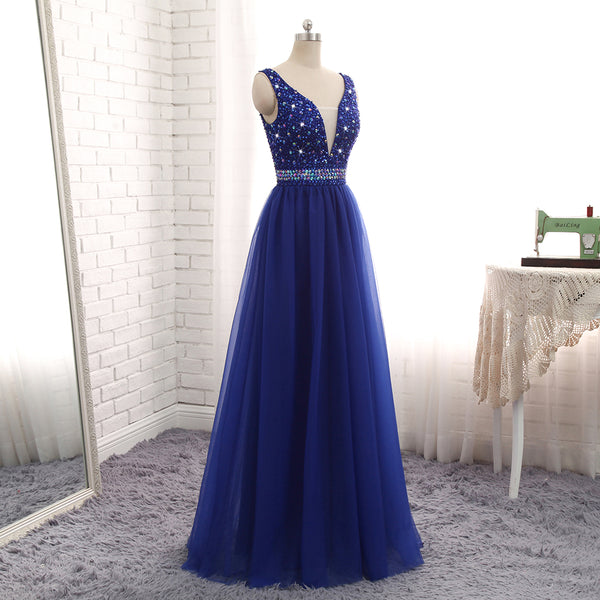 Gorgeous Royal Blue Beaded V Neckline Long Party Dress, Blue Junior Prom Dress 2019