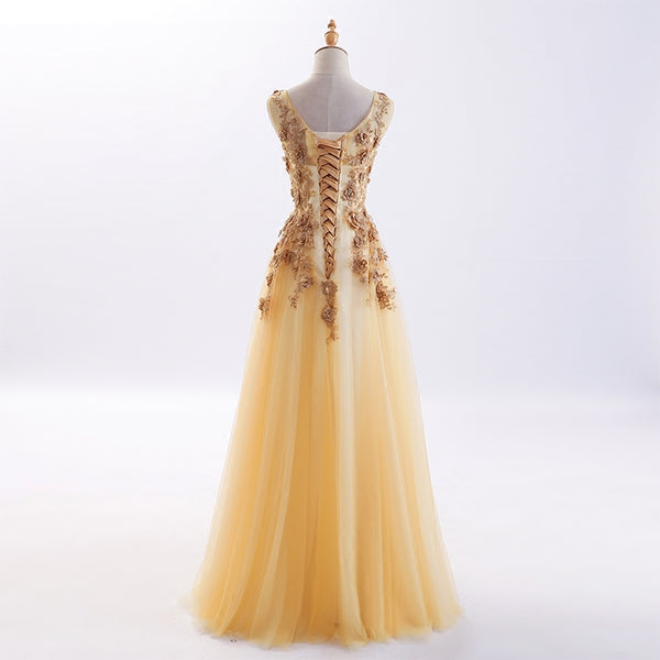 Beautiful Tulle Long Formal Gowns, Flowers Party Dresses, Long Prom Dress 2019