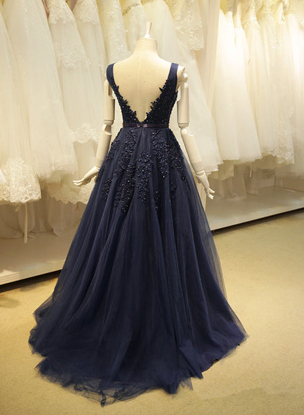 Navy Blue Tulle V Back Long Party Dress, Elegant Prom Gowns, Formal Dress 2018