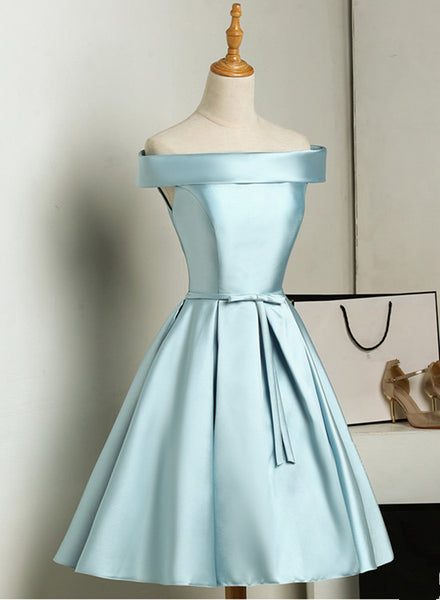 Beautiful Simple Blue Knee Length Satin Off Shoulder Homecoming Dress, Blue Formal Dress 2019