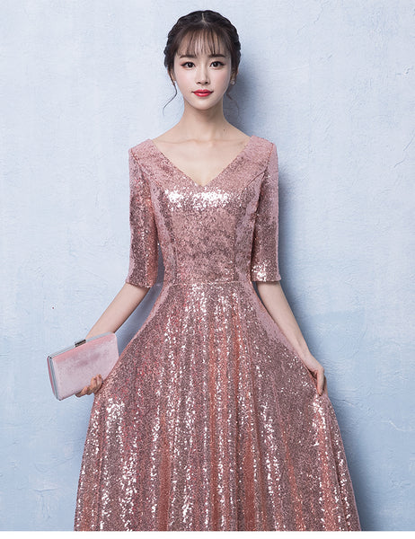 Peach Pink Sequins V-neckline Long Party Dress, Pink Bridesmaid Dress