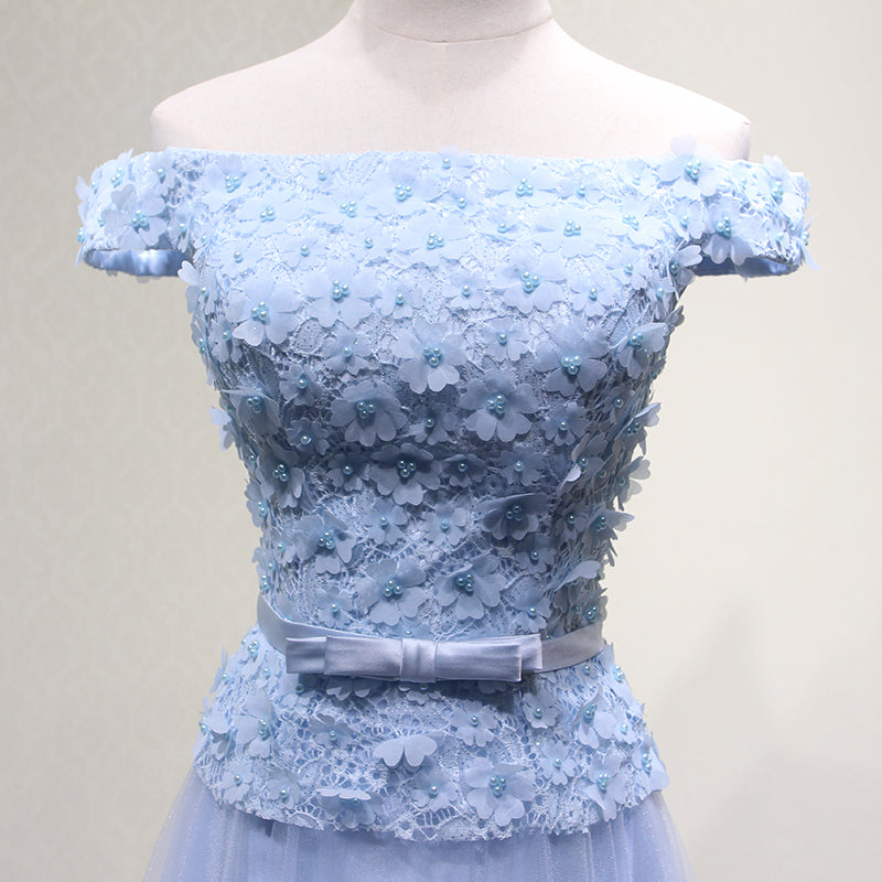 73c65656b2e Blue Off Shoulder Lace and Floral Long Party Gowns