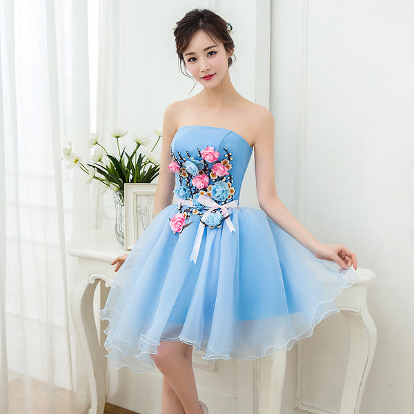 Lovely Blue Organza Short Party Dress with Flowers, Blue Homecoming Dress