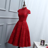 Red Lace Knee Length High Neckline Party Dress, Lace Homecoming Dresses