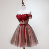 Beautiful Off Shoulder Tulle Knee Length Party Dress 2019, Red Homecoming Dress with Applique
