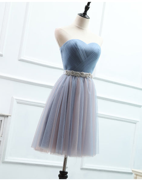 Tulle Sweetheart Blue Long Bridesmaid Dress with Belt, Charming Party Dress 2019