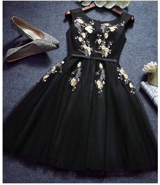 Charming Black Homecoming Dress, Flower Detail Round Neckline Short Prom Dress 2018