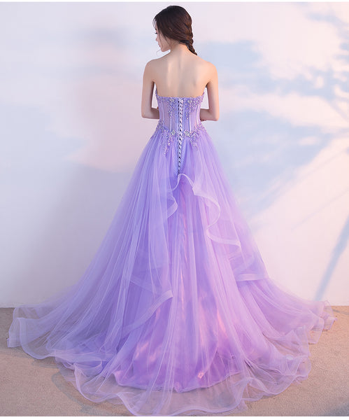 Charming Lilac Tulle Elegant Gown, Prom Gowns, Elegant Party Dresses
