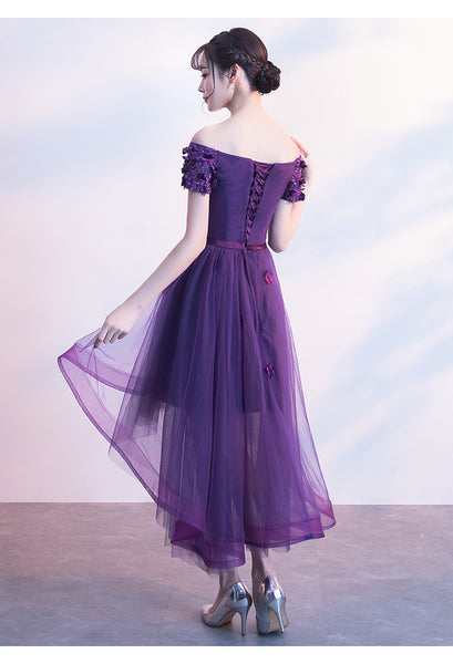 Dark Purple Off Shoulder High Low Dress, Beautiful Party Dresses 2019