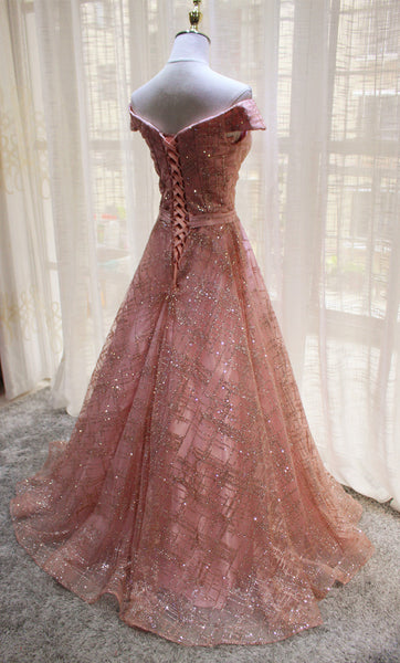 Beautiful Handmade Off Shoulder Sequins Long Formal Dress, Party Dress 2019