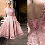 Pink Lace Tea Length Formal Dress, Beautiful Pink Prom Dresses, Lovely Party Dresses