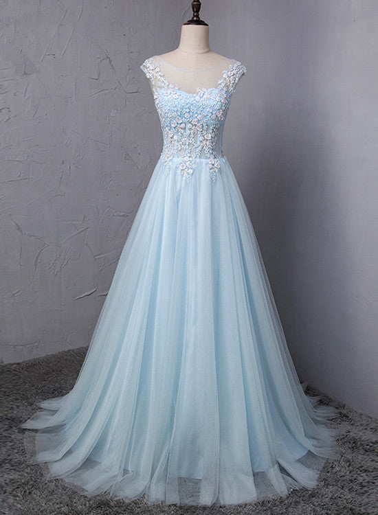 Light Blue Charming Gown, Blue Prom Dress 20188, Junior Party ...