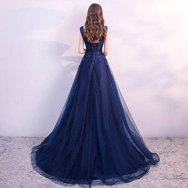 Navy Blue Round Neckline Tulle with Applique Handmade Lace-up Evening Gowns, Blue Prom Dresses 2019
