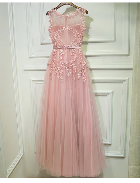 Beautiful Pink Round Neckline A-line Long Formal Gown, Prom Dresses 2019
