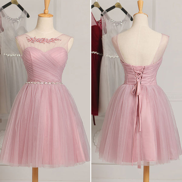 Short Tulle Cute Homecoming Dress with Belt, Prom Dress Short Graduation Dress