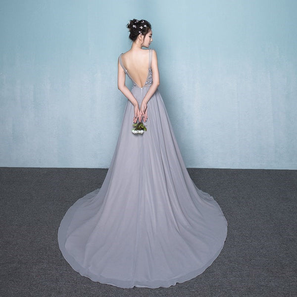 Beautiful Grey Chiffon Long Party Dress with Lace Top, Party Dress with Side Slit